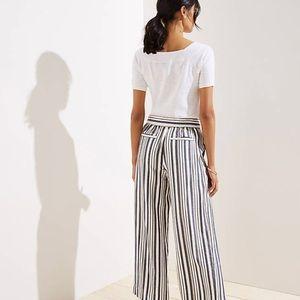 LOFT Women's Shimmer Mixed Stripes Wide Leg Pants